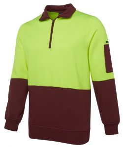 6HVFH-jbs-half-zip-hi-vis-fleecy-sweat-lime-maroon-profile