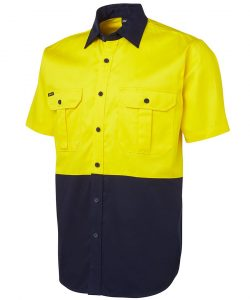 6HWS-jbs-hi-vis-drill-shirt-short-sleeves-yellow-navy-profile