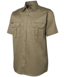 6WSS-jbs-short-sleeve-work-shirt-khaki-profile-view