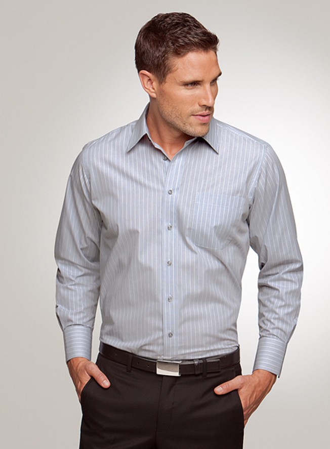 4104 mens shadow stripe business shirt by city collection for Corporate shirts for men