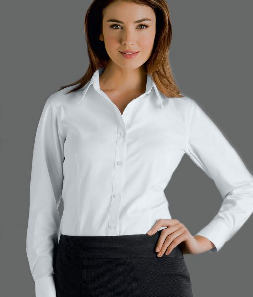 300 Series Womens Cotton Rich Oxford White Shirts by John Kevin