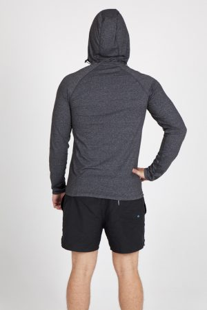 Heathered 1/2 Zip Hooded Top